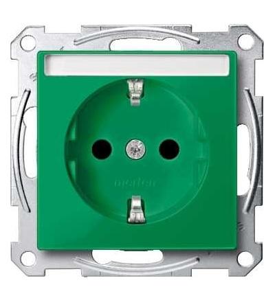 Schneider Electric MTN2302-0304 Merten, System M, zásuvka 1x2p+SE s cl, 16A 250VAC, pruž. sv., green