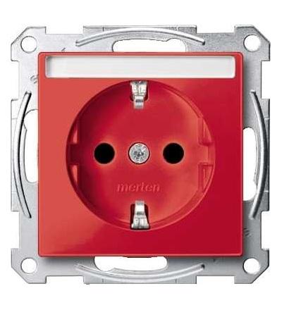 Schneider Electric MTN2302-0306 Merten, System M, zásuvka 1x2p+SE s cl, 16A 250VAC, pruž. sv., ruby red