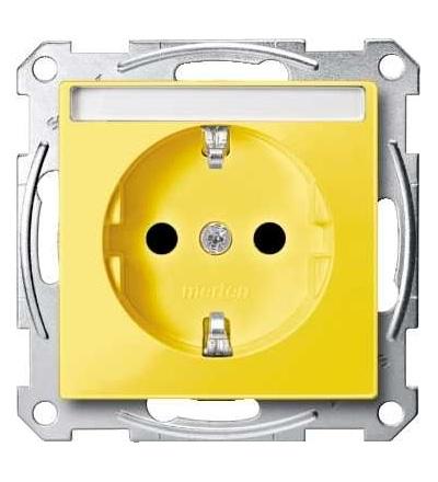 Schneider Electric MTN2302-0307 Merten, System M, zásuvka 1x2p+SE s cl, 16A 250VAC, pruž. sv., yellow