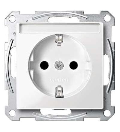 Schneider Electric MTN2302-0319 Merten, System M, zásuvka 1x2p+SE s cl, 16A 250VAC, pruž. sv., polar white