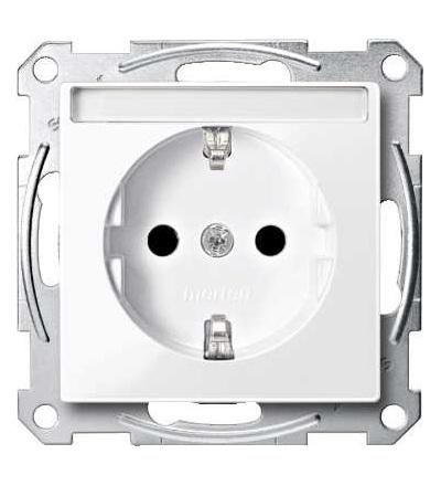 Schneider Electric MTN2302-0325 Merten, System M, zásuvka 1x2p+SE s cl, 16A 250VAC, pruž. sv., active white