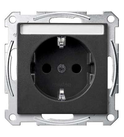 Schneider Electric MTN2302-0414 Merten, System M, zásuvka 1x2p+SE s cl, 16A 250VAC, pruž. sv., anthracite
