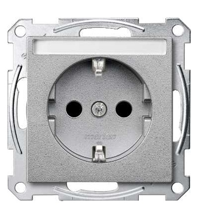 Schneider Electric MTN2302-0460 Merten, System M, zásuvka 1x2p+SE s cl, 16A 250VAC, pruž. sv., aluminium