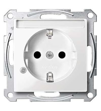 Schneider Electric MTN2303-0319 Merten, System M, zásuvka 1x2p+SE s cl, 16A 250VAC, pruž. sv., polar white