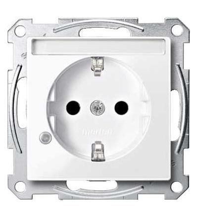 Schneider Electric MTN2303-0325 Merten, System M, zásuvka 1x2p+SE s cl, 16A 250VAC, pruž. sv., active white