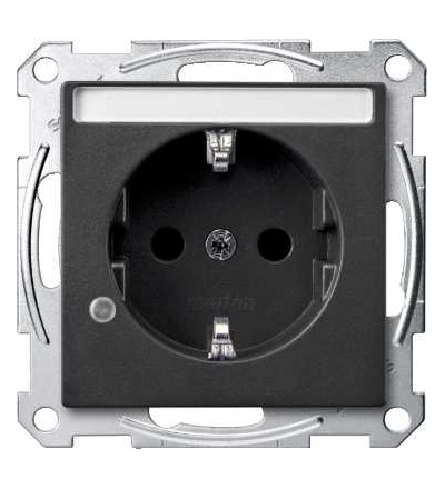 Schneider Electric MTN2303-0414 Merten, System M, zásuvka 1x2p+SE s cl, 16A 250VAC, pruž. sv., anthracite