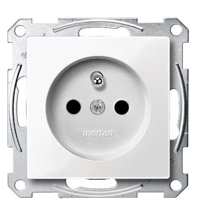 Schneider Electric MTN2500-0319 Merten, System M, zásuvka 1x2p+PE s cl, 16A 250VAC, pruž. sv., polar white
