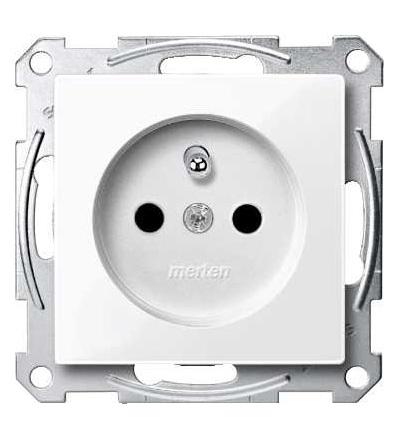 Schneider Electric MTN2500-0325 Merten, System M, zásuvka 1x2p+PE s cl, 16A 250VAC, pruž. sv., active white
