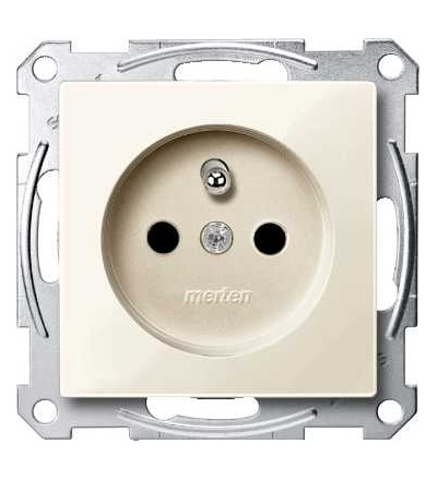 Schneider Electric MTN2500-0344 Merten, System M, zásuvka 1x2p+PE s cl, 16A 250VAC, pruž. sv., white cream