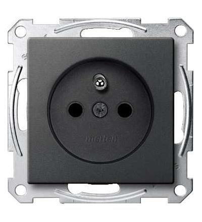 Schneider Electric MTN2500-0414 Merten, System M, zásuvka 1x2p+PE s cl, 16A 250VAC, pruž. sv., anthracite