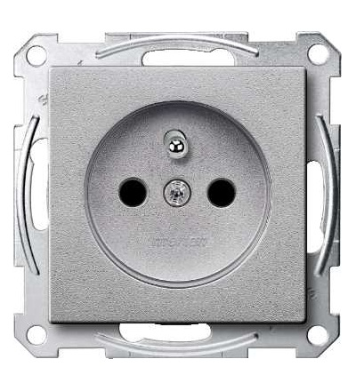 Schneider Electric MTN2500-0460 Merten, System M, zásuvka 1x2p+PE s cl, 16A 250VAC, pruž. sv., aluminium