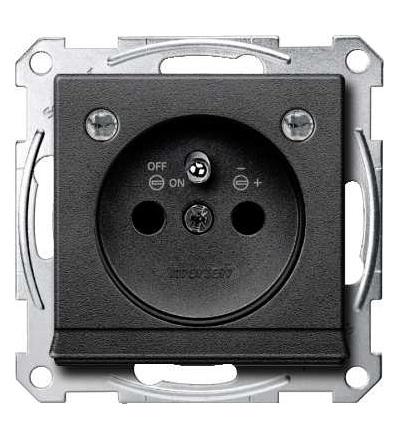 Schneider Electric MTN2504-0414 Merten, System M, zásuvka 1x2p+PE s cl a LED, 16A 250VAC, pruž. sv., anthr