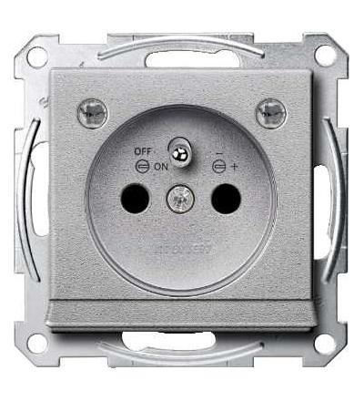 Schneider Electric MTN2504-0460 Merten, System M, zásuvka 1x2p+PE s cl a LED, 16A 250VAC, pruž. sv., alumin