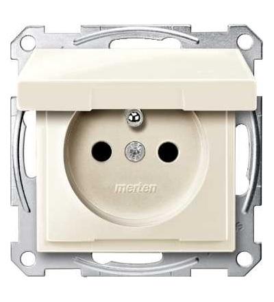 Schneider Electric MTN2510-0344 Merten, System M, zásuvka 1x2p+PE s clonkou, 16A 250VAC, pruž. sv., wh.cre