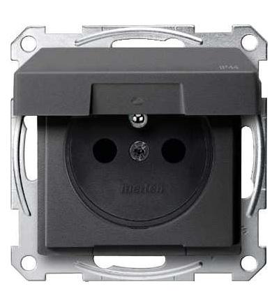 Schneider Electric MTN2514-0414 Merten, System M, zásuvka 1x2p+PE s cl, 16A 250VAC, IP44, pruž. sv., ant