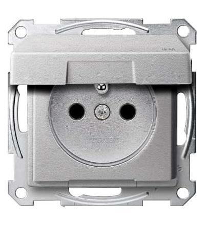 Schneider Electric MTN2514-0460 Merten, System M, zásuvka 1x2p+PE s cl, 16A 250VAC, IP44, pruž. sv., alu