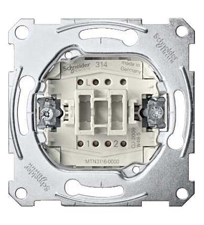 Schneider Electric MTN3116-0000 Merten-dvoucestný spínač s vložkou 1p-zapuš. mont.-10AX-AC 250 V-šroub. svorky