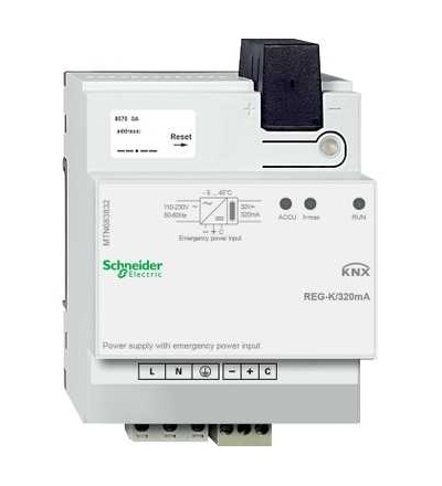 MTN683832 KNX napájecí zdroj REG-K/320mA se vstupem pro záložní napájení, Schneider Electric