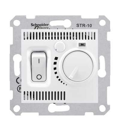 SDN6000121 Sedna, termostat prostorový otočný s vypínačem, 10A bez rámečku, polar, Schneider Electric