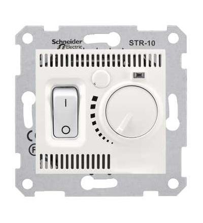 SDN6000123 Sedna, termostat prostorový otočný s vypínačem, 10A bez rámečku, cream, Schneider Electric
