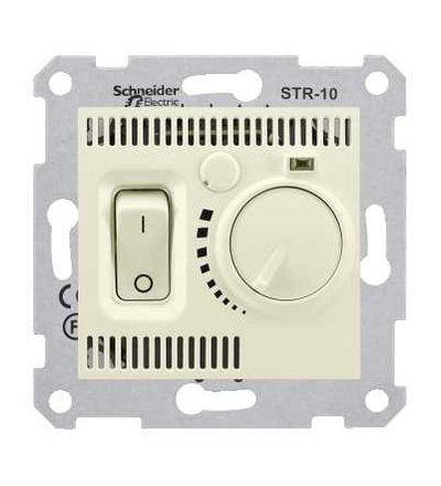 SDN6000147 Termostat prostorový otočný s vypínačem, beige, Schneider Electric