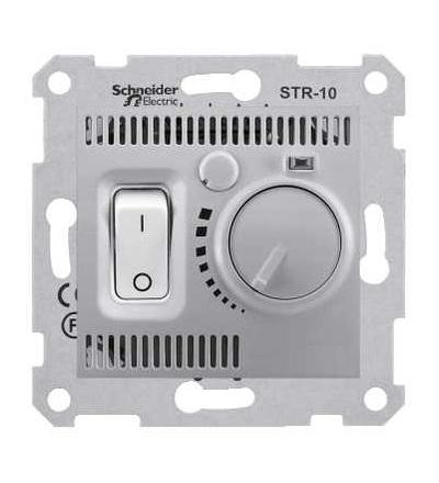 SDN6000160 Termostat prostorový otočný s vypínačem, alu, Schneider Electric