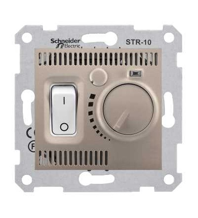 SDN6000168 Sedna, termostat prostorový otočný s vypínačem, 10A bez rámečku, titan, Schneider Electric