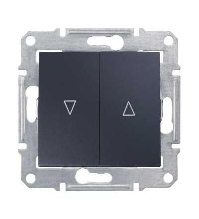 SDN1300370 Spínač jednopólový ovládače žaluzií, ř. 1+1, mech. blokování, graphite, Schneider Electric