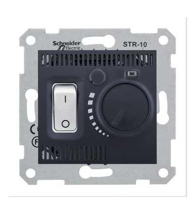 SDN6000170 Termostat prostorový otočný s vypínačem, graphite, Schneider Electric