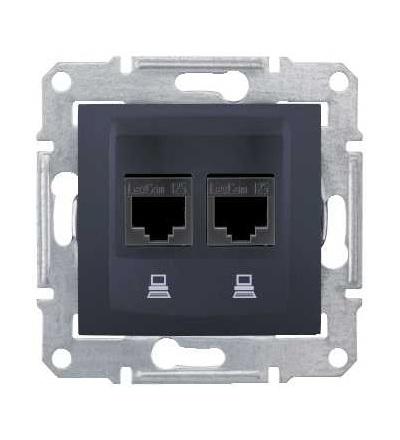 SDN5000170 Zásuvka datová 2xRJ45 kat.6 STP, graphite, Schneider Electric