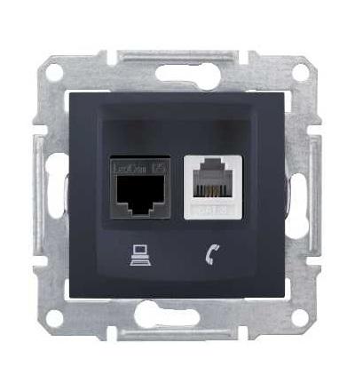 SDN5200170 Zásuvka telefonní RJ11 a datová 1xRJ45 kat.6 UTP, graphite, Schneider Electric