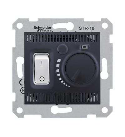 SDN6000370 Termostat pro podlahové vytápění otočný s vypínačem, graphite, Schneider Electric