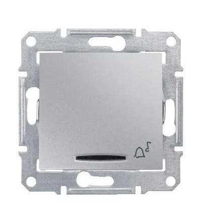SDN1700160 Sedna-ovlád.tlač.-10AX 12V~ orient.kontrolka-symbol zvonek-bez rámečku- alu, Schneider Electric