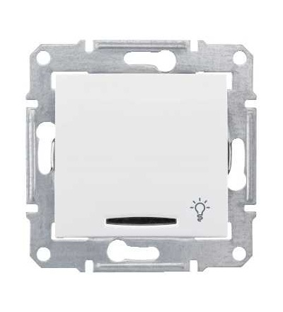 SDN1800121 Sedna-ovládač tlačítkový-10AX orient.kontrolka-symbol světlo-bez rámečku- polar, Schneider Electric