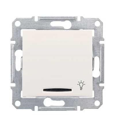 SDN1800123 Sedna-ovládač tlačítkový-10AX orient.kontrolka-symbol světlo-bez rámečku- cream, Schneider Electric