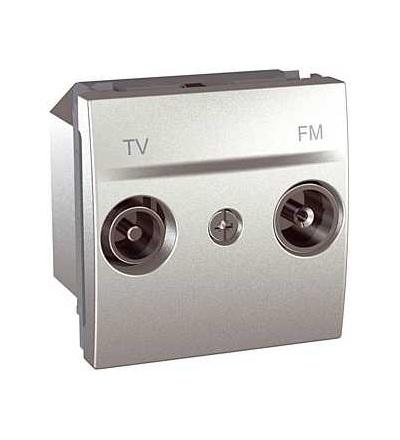 Schneider Electric MGU3.453.30 Unica Top/Class, zásuvka TV/FM, průchozí, alu.