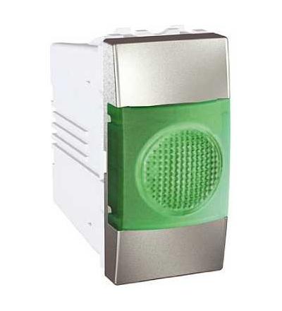 Schneider Electric MGU3.775.30V Unica Top/Class, indikační světlo, 220V AC, 1mod., green, aluminium