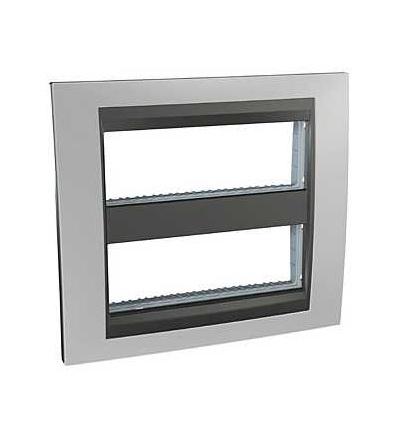 Schneider Electric Unica Top-krycí rámeček (upev. rámeček)-dvojnásobný (H)-2x6mod. chrome/grafit MGU49.426.238