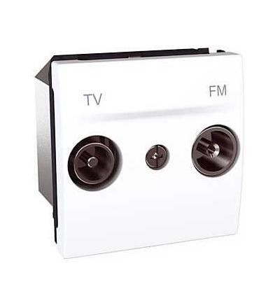 Schneider Electric Unica, zásuvka TV/FM, průchozí, polar MGU3.453.18