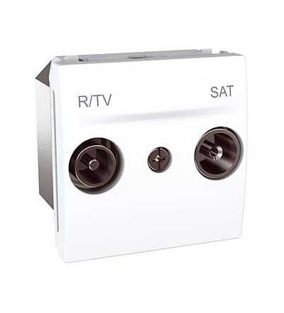 Schneider Electric Unica, zásuvka R-TV/SAT, průchozí, polar MGU3.456.18