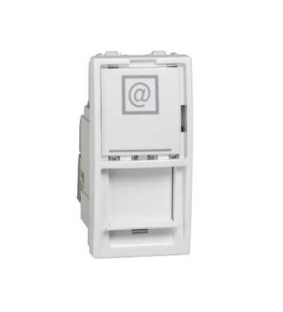 Schneider Electric MGU3.446.18 Unica, 1 RJ45 socket (S-One), 1m, Cat.6A, S/FTP, white