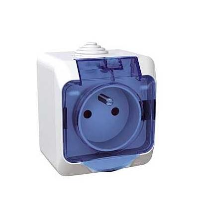 Schneider Electric WDE000542 Cedar Plus, jednoduchá zásuvka 230V 16A 2p+PE, krytky, čirý kryt, bílá