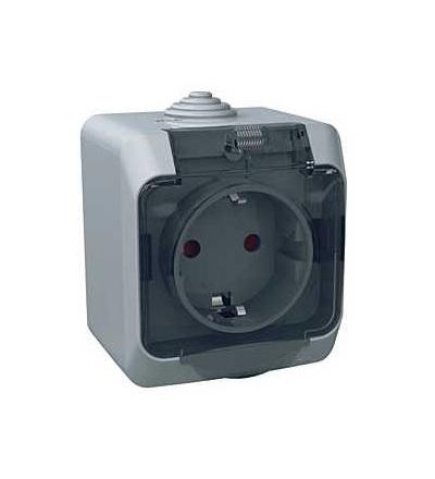 WDE000643 Cedar Plus, zásuvka 230V 16A 2p+SE (VDE), krytky, čirý kryt, šedá, Schneider Electric
