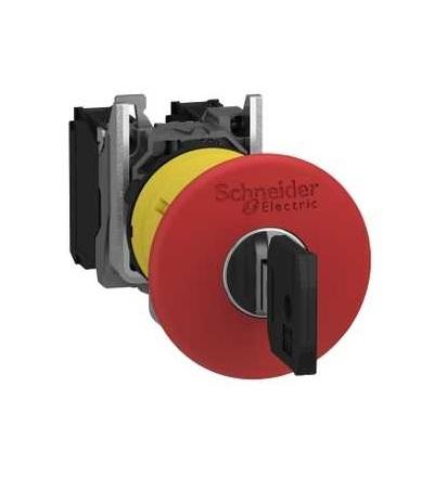 Schneider Electric XB5AS9445 červená O40 ovl.tlač.nouz.zastav.? 22 vypnuto s aretací uvolnění klíčem 1Z+1V
