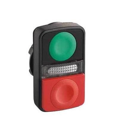 Schneider Electric ZB5AL7340 Zelená lícující/červená s přesah. ovl. hlavice dvoutlač. ? 22 neoznačený