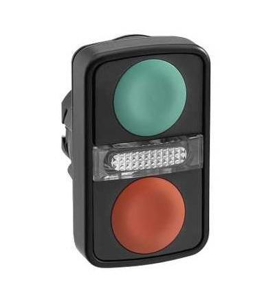 Schneider Electric ZB5AW7A3740 Zelená lícující/čer. lícující ovl.hlavice dvoutlač.se signálkou ? 22 neoznačený