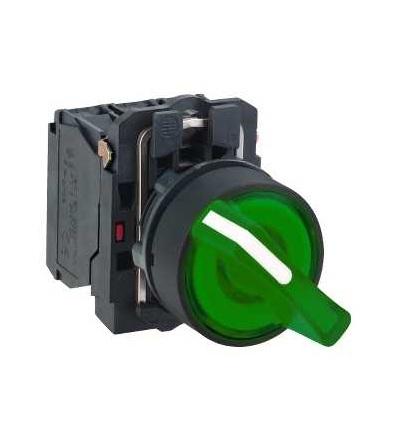 Schneider Electric XB5AK123M5 Zelená kompletní prosvětlený otočný ovládač ? 22 2-polohy pevné 1Z+1V 230V