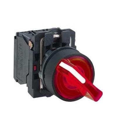 Schneider Electric XB5AK124M5 červená kompletní prosvětlený otočný ovládač ? 22 2-polohy pevné 1Z+1V 230V