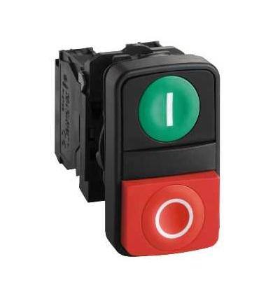 Schneider Electric XB5AL73415 Zelená lícující/červená s přesah. ovl. hlavice dvoutlač. ? 22 s popisem