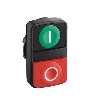Schneider Electric ZB5AL7341 Zelená lícující/červená s přesah. ovl. hlavice dvoutlač. ? 22 s popisem